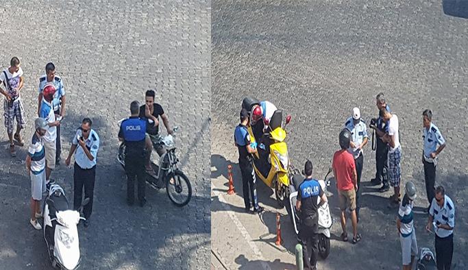Trafik polislerinden kask denetimi