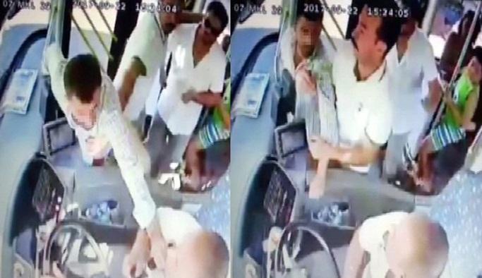 Saldırgan yolcuya haddini yolcular bildirdi