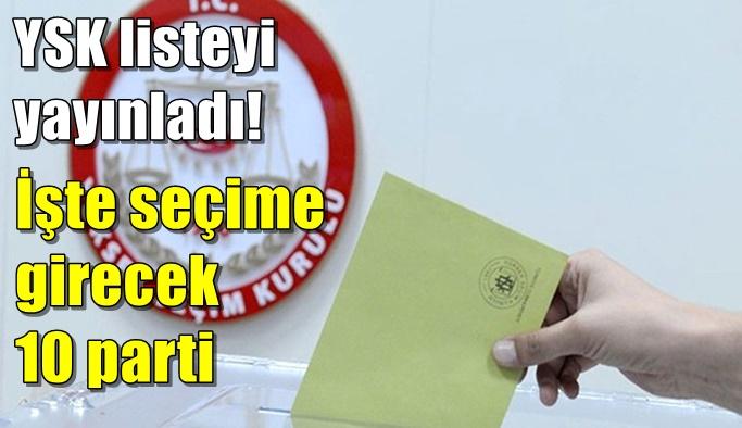 YSK seçime katılabilecek 10 siyasi partinin listesini yayınladı!
