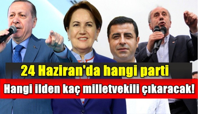 24 Haziran'da hangi parti, hangi ilde, kaç milletvekili çıkarıyor?