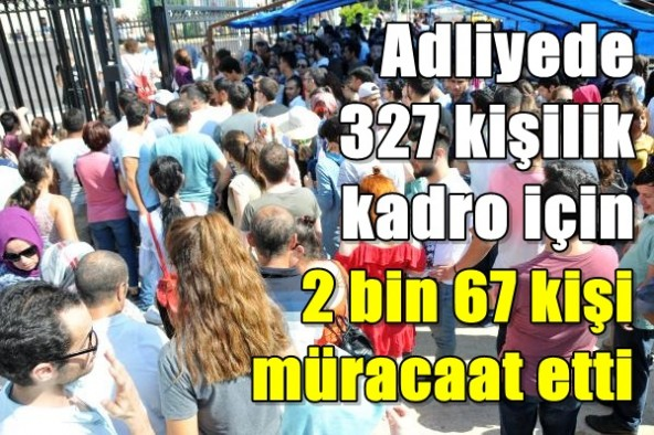 Adliyede 327 kişilik kadro için 2 bin 67 kişi müracaat etti