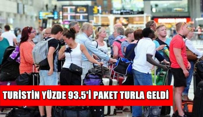 Turistin yüzde 93.5'i paket turla geldi