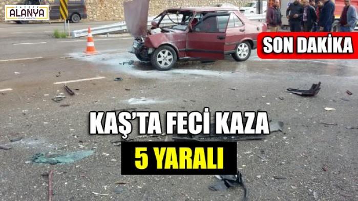 Kaş'ta Feci kaza, 5 yaralı