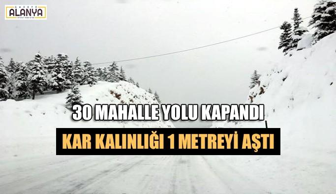 30 mahalle yolu kapandı, kar kalınlığı 1 metreyi aştı