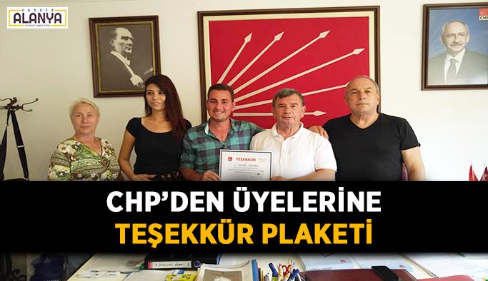 CHP'den üyelerine teşekkür belgesi