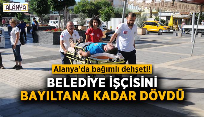 Alanya'da bağımlı dehşeti! Belediye işçisini bayıltana kadar dövdü