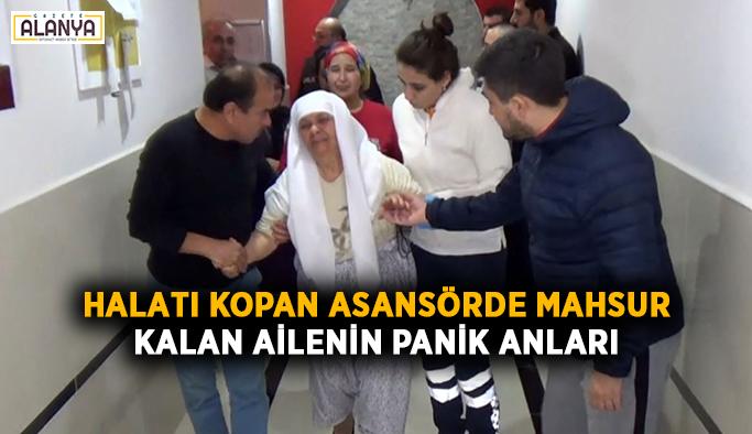 Halatı kopan asansörde mahsur kalan ailenin panik anları