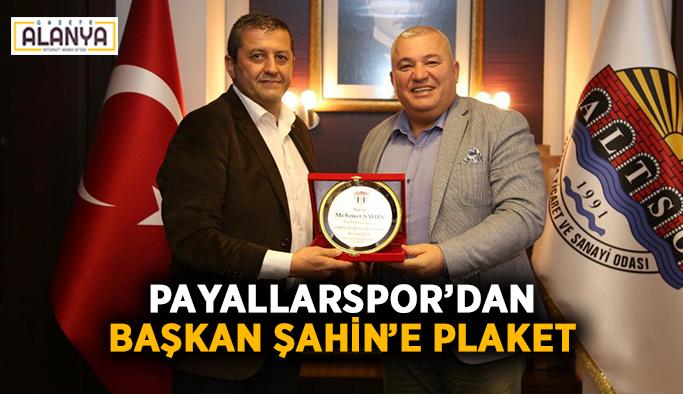 Payallarspor'dan Başkan Şahin'e plaket
