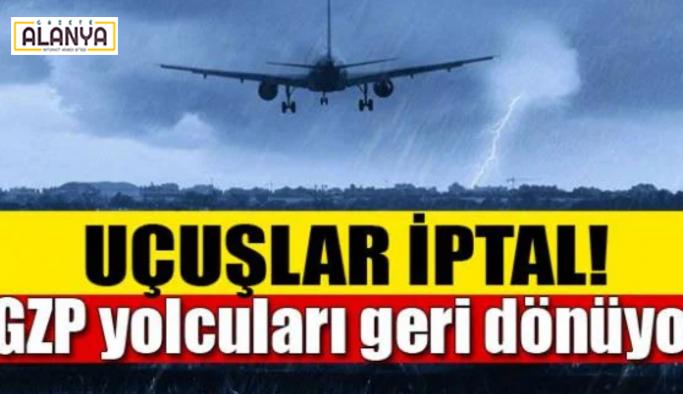 Alanya GZP'de uçuşlara  fırtına engeli uçuşlar iptal
