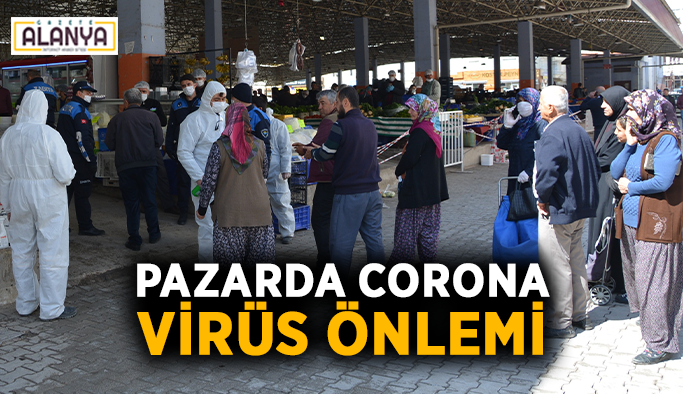 Pazarda Corona virüs önlemi