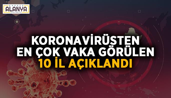 Koronavirüsten en çok vaka görülen 10 il açıklandı