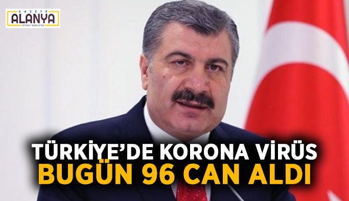 Türkiye'de korona virüs bugün 96 can aldı