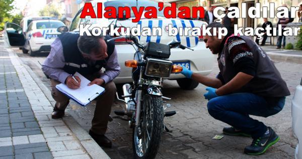 Alanya'dan çaldıkları motosikleti bırakıp kaçtılar