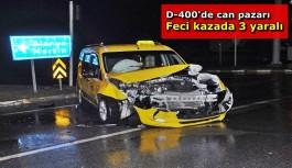Taksi ile otomobil çarpıştı: 3 yaralı
