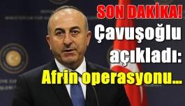 SON DAKİKA! Çavuşoğlu açıkladı: Afrin operasyonu…