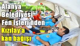 Alanya Belediyesi Fen İşleri'nden Kızılay'a kan bağışı