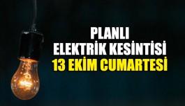 13 Ekim elektrik kesintisi