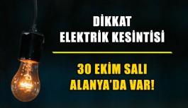 30 Ekim elektrik kesintisi