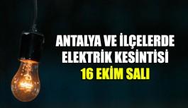 Antalya ve ilçelerinde planlı elektrik kesintisi