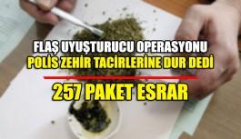 Flaş uyuşturucu operasyonu 257 paket esrar