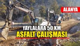 Yaylalara 50 km asfalt çalışması