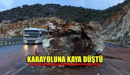 Karayoluna kaya düştü