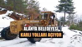 Alanya Belediyesi karlı yolları açıyor
