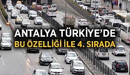 Antalya Türkiye'de bu özelliği ile ilk dörtte