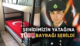 Şehidimizin yatağına Türk Bayrağı serildi