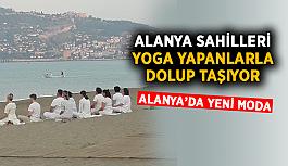 Alanya sahilleri  yoga yapanlarla doluyor
