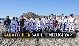 Karateciler sahil temizliği yaptı
