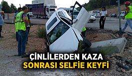 Çinlilerden kaza sonrası selfie keyfi