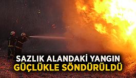 Sazlık alandaki yangın güçlükle söndürüldü