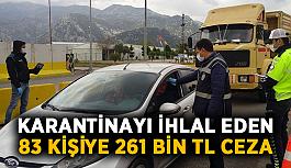 Karantinayı ihlal eden 83 kişiye 261 bin TL ceza