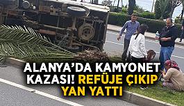 SON DAKİKA! Alanya'da kamyonet kazası! Refüje çıkıp yan yattı