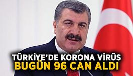Türkiye'de korona virüs bugün 96 can...
