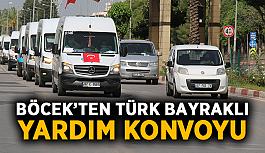 Böcek'ten Türk bayraklı yardım konvoyu