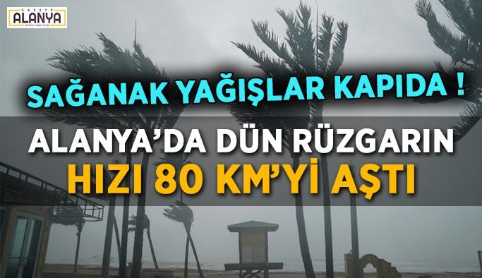 Alanya'da rüzgarın hızı 80 km'yi aştı