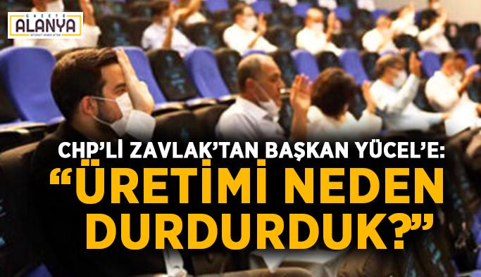 """CHP'li Zavlak'tan Başkan Yücel'e: """"Üretimi neden durdurduk?"""""""