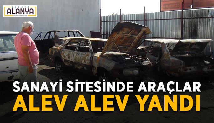 Sanayi sitesinde araçlar alev alev yandı