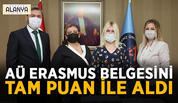 AÜ Erasmus belgesini tam puan ile aldı