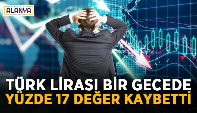 Türk lirası bir gecede yüzde 17 değer kaybetti