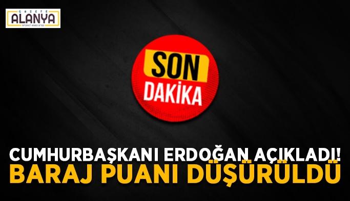 Cumhurbaşkanı Erdoğan açıkladı! Baraj puanı düşürüldü