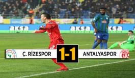 Antalya Rize'den 1 puanla döndü