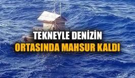 Tekneyle denizin ortasında mahsur kaldı