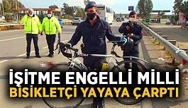İşitme engelli milli bisikletçi yayaya çarptı: 1'i ağır 2 yaralı