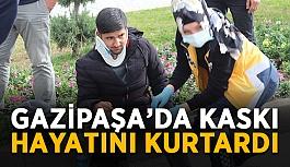 Gazipaşa'da kaskı hayatını kurtardı