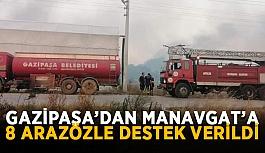 Gazipaşa'dan Manavgat'a 8 arazözle destek verildi