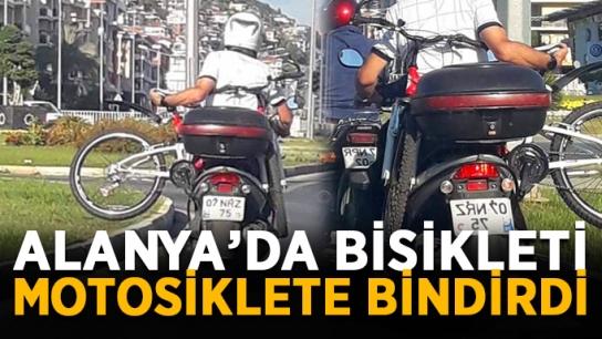 Dünya tersine döndü! Alanya'da bisikleti motosiklete bindirdi