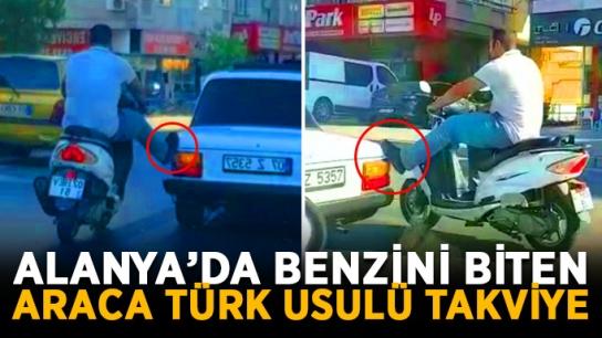 Alanya'da benzini biten araca Türk usulü takviye